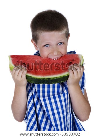 Happy child biting a big watermelon slice, studio shot isolated on white background - stock photo