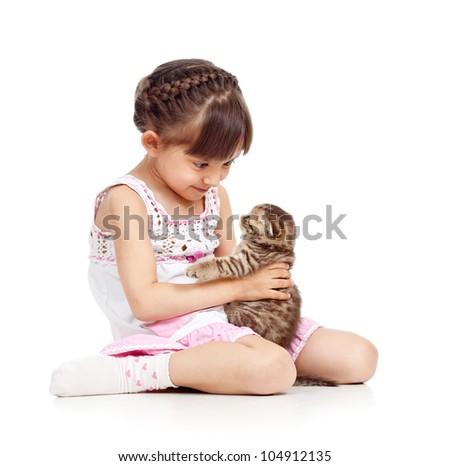 happy child girl holding  cat - stock photo