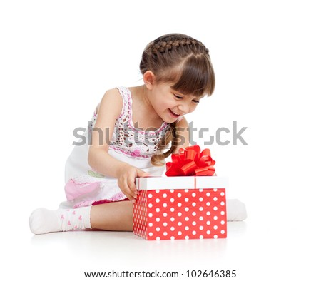 happy child girl opening gift box - stock photo