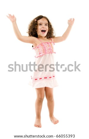Happy child girl shouting or singing, with hands up . - stock photo