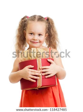 happy child girl with gift box - stock photo