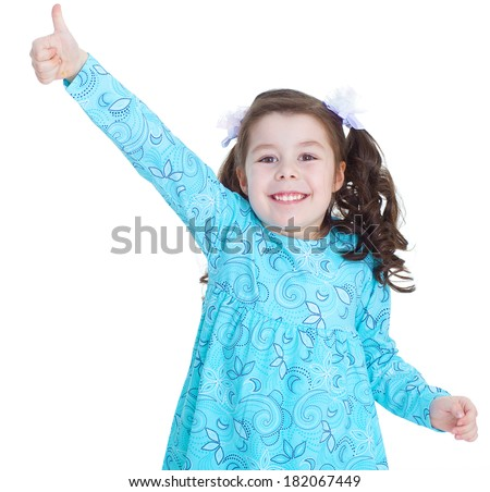 happy child girl with hands thumbs up.Isolated on white background. - stock photo