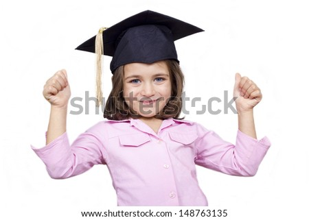 Happy child giving a thumbs up. A kid girl with a thumbs up sign, isolated on white - stock photo