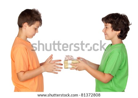 Happy child giving birthday present to a friend - stock photo