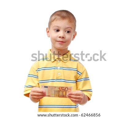 Happy child holds money in hand isolated on white background - stock photo