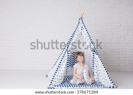 Happy child in a teepee tent. Little girl playing in a tent.  sc 1 st  Shutterstock & Happy Child Teepee Tent Little Girl Stock Photo 378671284 ...
