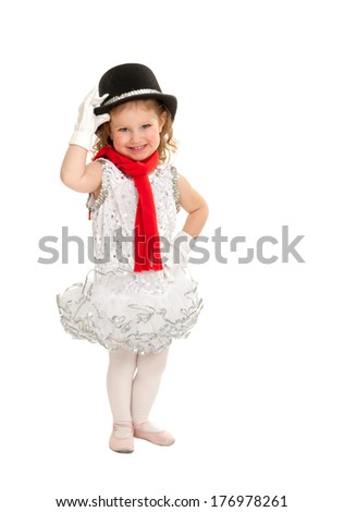 Happy Child in Christmas Winter Snowman Ballet Dance Recital Costume - stock photo