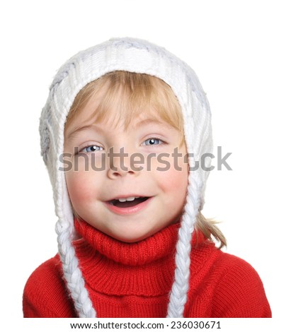 Happy child in red sweater isolated on white background - stock photo