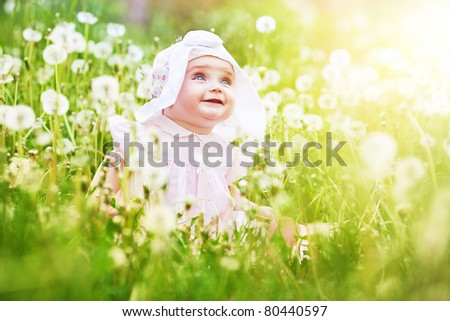 happy child in the field - stock photo