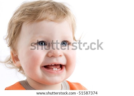 Happy child isolated on a white background