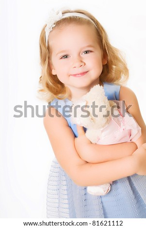 Happy child isolated on white - stock photo
