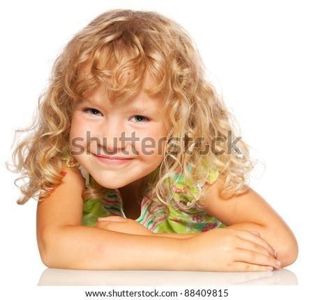 Happy child isolated on white - stock photo