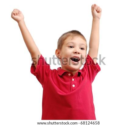 Happy child isolated on white background - stock photo