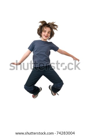 Happy child jumping, isolated on white - stock photo
