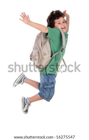 happy child jumping with backpack, back to school - stock photo