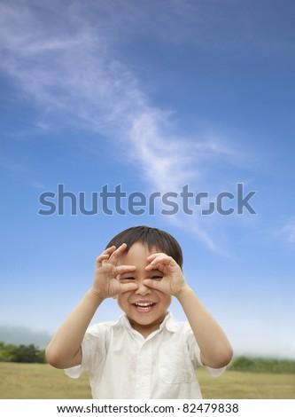 happy child looking forward - stock photo
