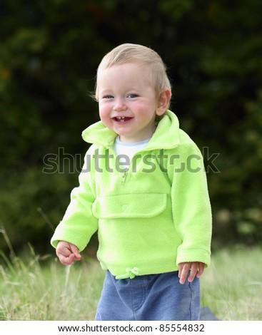 Happy child on the picnic - stock photo