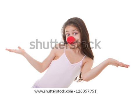 happy child or kid with red clown nose - stock photo