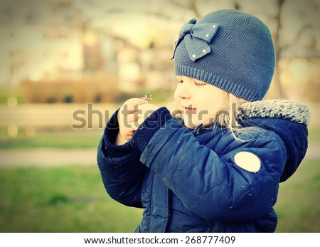Happy child. Outdoors scenery. Vintage style. - stock photo