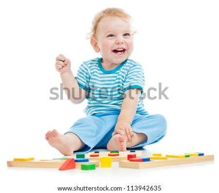 happy child playing isolated on white - stock photo