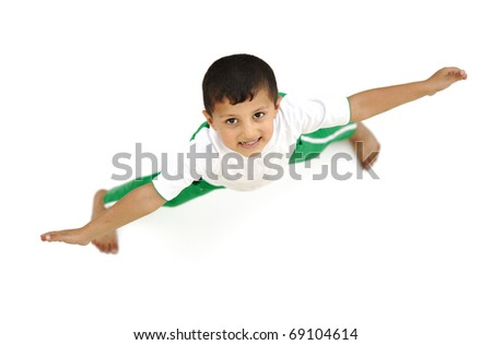 Happy child, positive fresh little boy from above, different angle, isolated on white, opened arms - stock photo