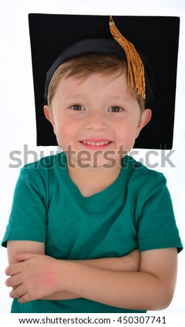 Happy child school kid graduate in graduation cap. - stock photo