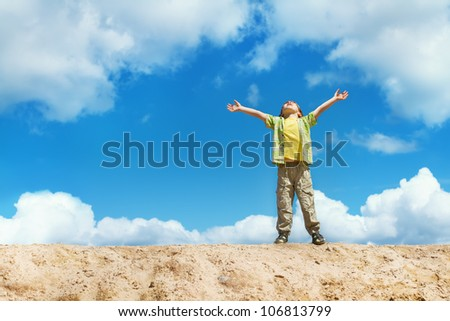 Happy child standing on the top with hands raised up. Happiness and freedom concept. - stock photo