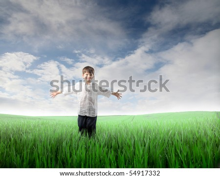 Happy child standing with open arms on a green meadow