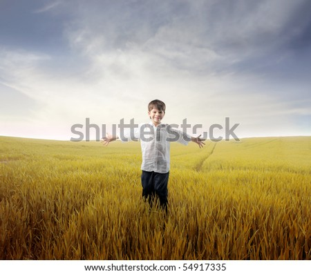 Happy child standing with open arms on a wheat field - stock photo