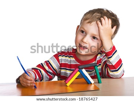Happy child white plasticine - stock photo