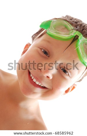 happy child with goggles over white background - stock photo