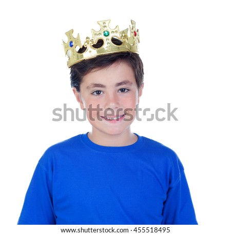 Happy child with golden crown on the head isolated on a white background - stock photo