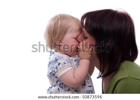 happy child with her mother - stock photo