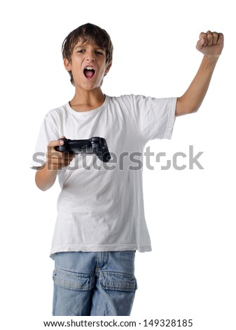 happy child with joystick playing video games isolated on white - stock photo