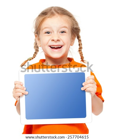 Happy child with tablet. Girl with placard isolated on white - stock photo