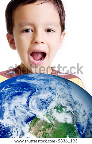 Happy child with the world in your hands - stock photo