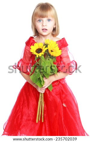 Happy childhood, children's fashion concept.Happy childhood, children's fashion concept.Very beautiful little girl with a bouquet of sunflowers.Isolated on white background. - stock photo