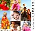 Happy childhood concept. Collection of little girl photos - stock photo