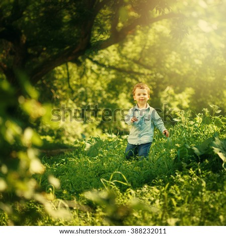 Happy Childhood. Cute Little Boy Having Fun in the Summer Park Outdoors. Cute Blonde Kid in Jeans Clothing. Selective Focus. Image Toned. - stock photo