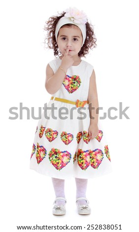 Happy childhood, the family concept.Cute beautiful little girl in a white dress.Isolated on white. - stock photo