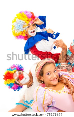 Happy children and adult with costumes on white background - stock photo