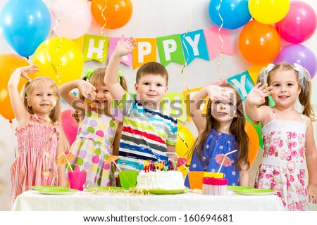 happy children celebrating birthday holiday - stock photo