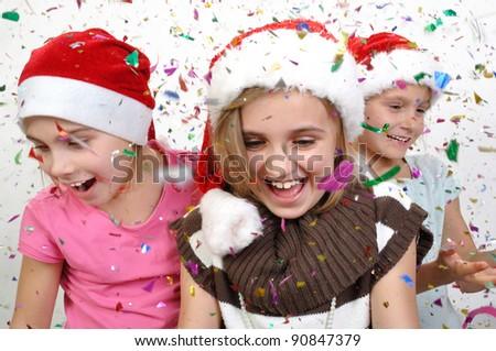 happy children celebrating Christmas - stock photo