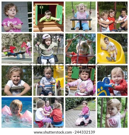 Happy children collage - stock photo