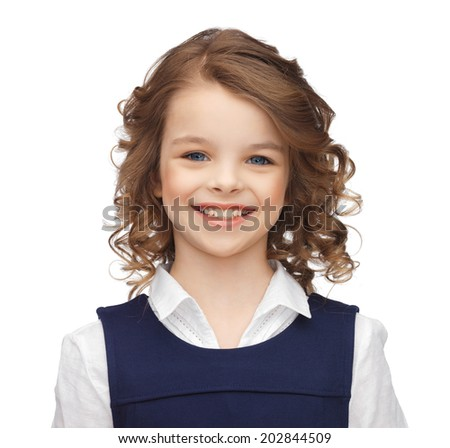 happy children concept - portrait of smiling little girl - stock photo