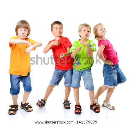 happy children dancing on a white background, healthy life - stock photo