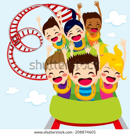Happy children enjoy roller coaster ride screaming and having fun - stock photo