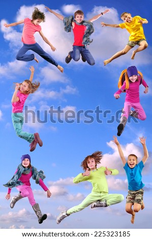 Happy children exercising, jumping and having fun form a frame. Bright light golden background. Childhood, happiness, sport active lifestyle concept - stock photo