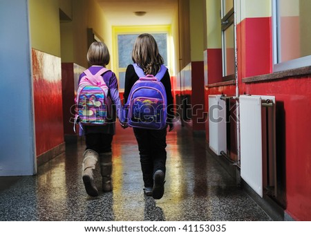 happy children group in school have fun - stock photo