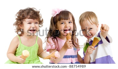 happy children group with ice cream in studio isolated - stock photo